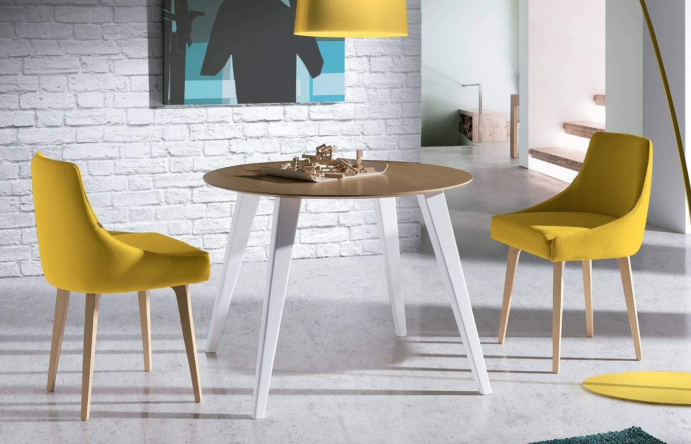 Conjunto mesa sillas okna 3 dismobel for Sillas para mesa redonda