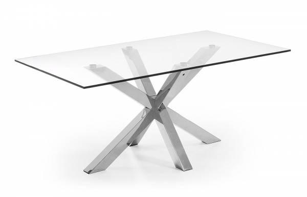 Mesa de comedor Plinto Inox-Transparente 160