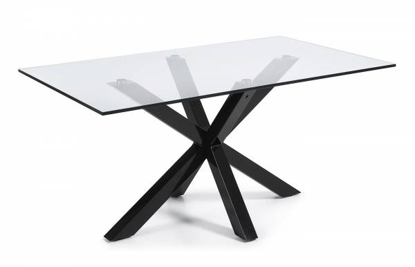 Mesa de comedor Plinto Negro-Transparente 160