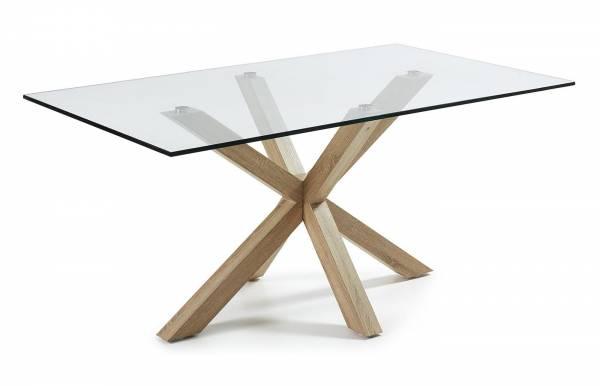 Mesa de comedor Plinto Natural-Transparente 160