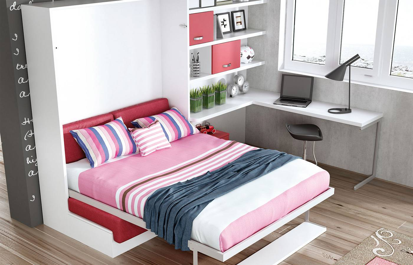 Habitaci n juvenil con cama abatible solution 17 dismobel Cama juvenil abatible