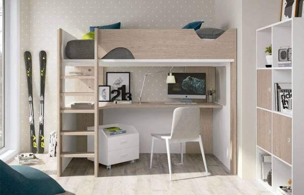 Habitación infantil juvenil con litera Faster