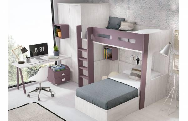 Habitación infantil juvenil con cama tren Bangle