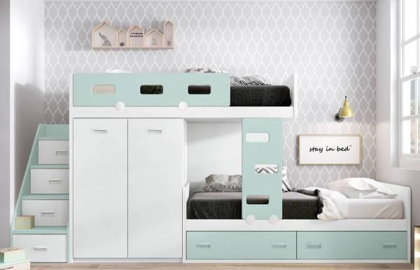 Habitación infantil juvenil con cama tren Lampy