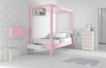 Habitación infantil juvenil con cama con dosel Canopy Rosa