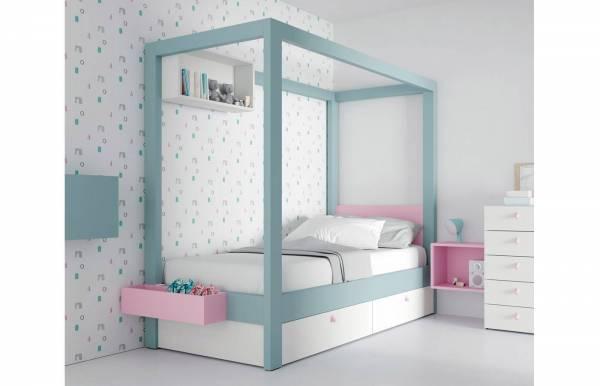 Habitación infantil juvenil con cama con dosel Canopy Celeste