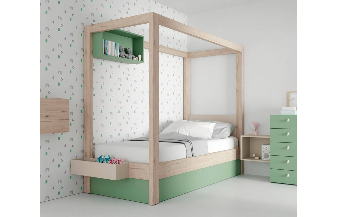Habitación Infantil Juvenil Con Cama Con Dosel Canopy Veronese