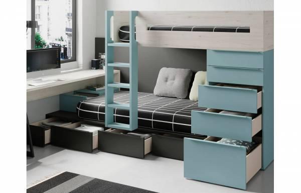 Habitación infantil juvenil con cama tren Nott