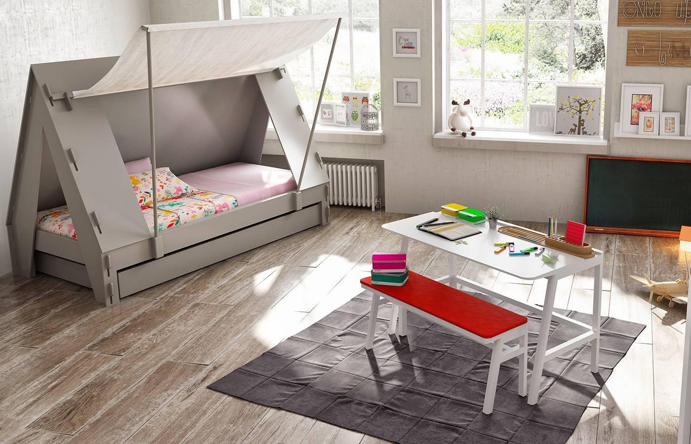 Cama tienda con nido blanca de mathy by bols dismobel for Cama nido blanca online
