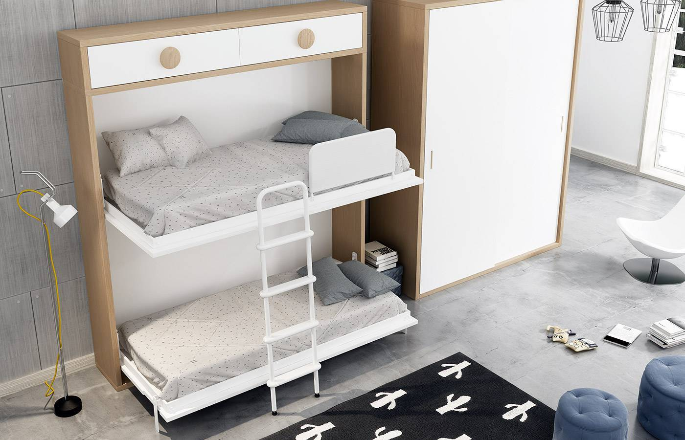 Habitaci n infantil con litera abatible horizontal kids 54 - Habitacion con litera ...