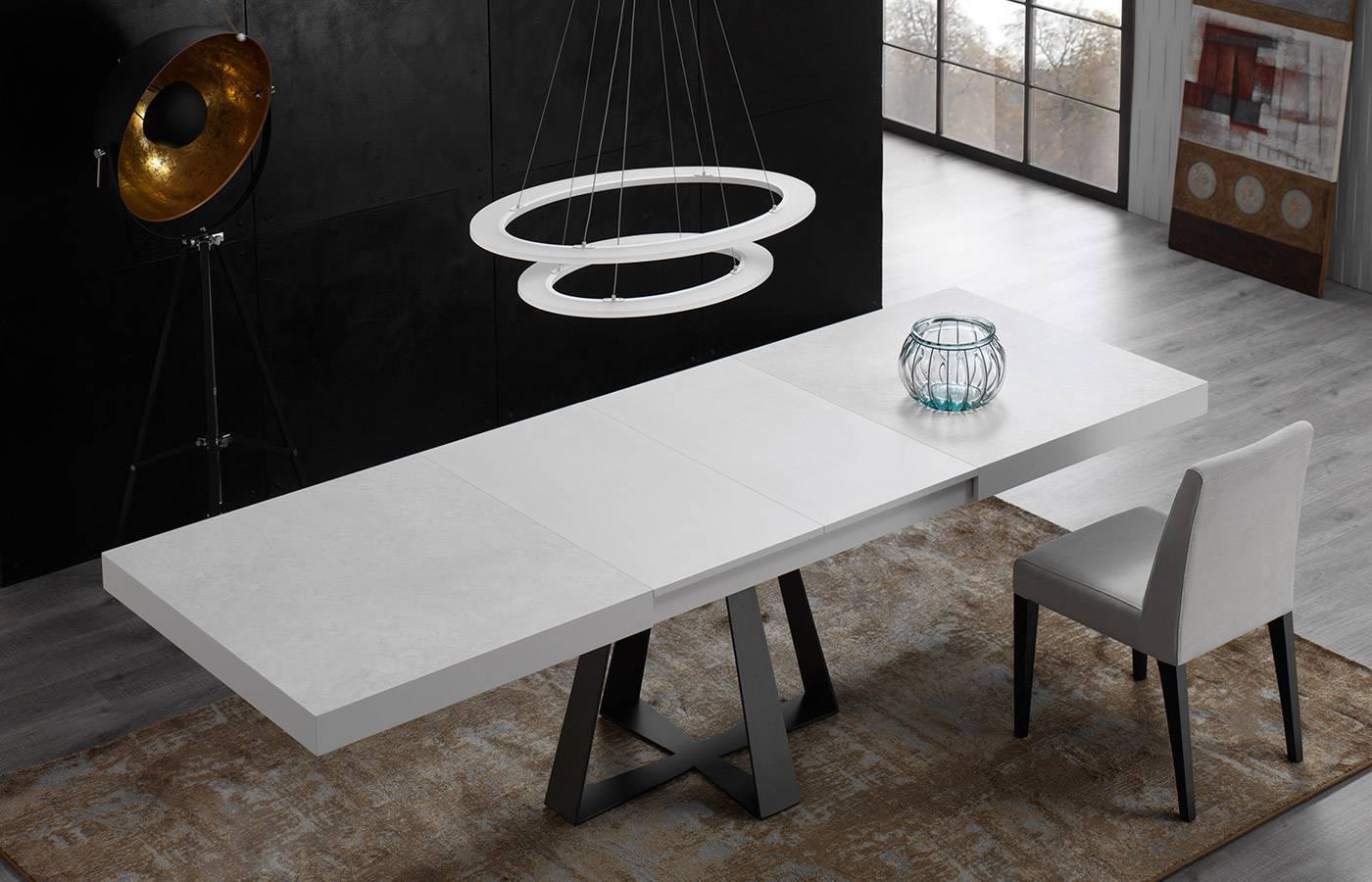 Mesa de comedor six porcel nico o cristal dismobel for Mesas de cristal extensibles para comedor