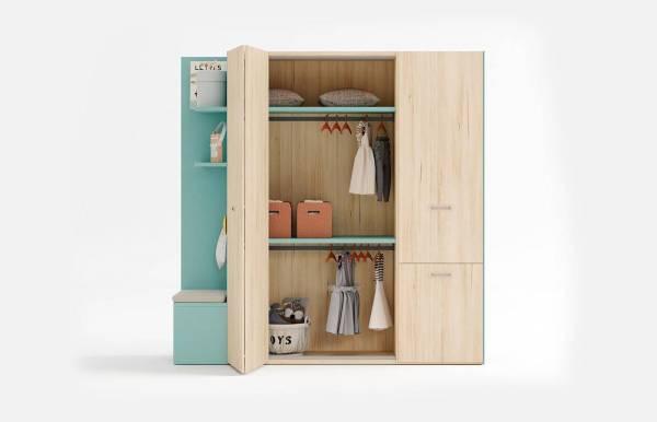 Armario 1 puerta plegable + 1 puerta abatible DressBox de Lagrama