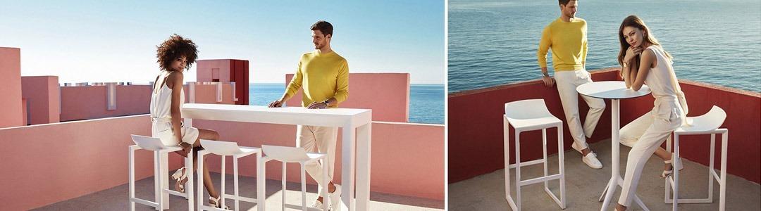 Taburetes y mesas altas de jardín