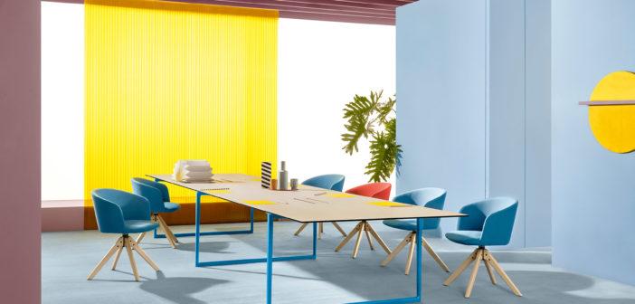 La mesa Toa creada por Robin Rizzini para Pedrali, combina un estilo técnico-industrial con un encanto decorativo